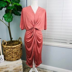 NWOT ROSY PINK SOFT SWIRL MIDI DRESS